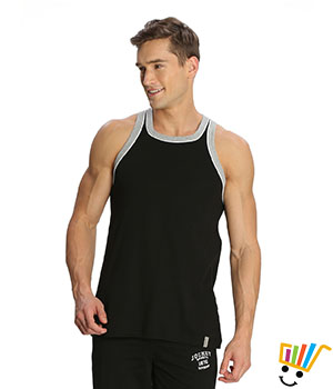 Jockey Sport Mens Vest 9925 Black Grey