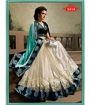 Sky Beauty Sattin Pallu Georgette Skirt Saree ET-9414