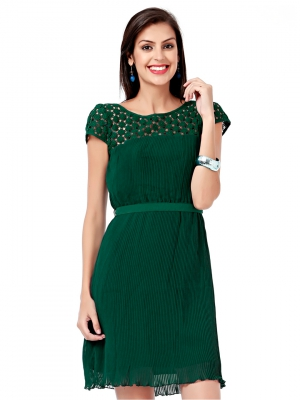 EAVAN Green Pleated Fit And Flare Dress EA1201