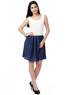 EAVAN white-Blue  Solid Fit And Flare Dress EA1203