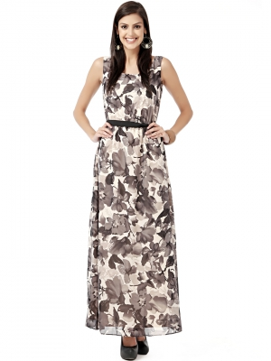 EAVAN Beige-Black Printed Maxi  Dress EA1217