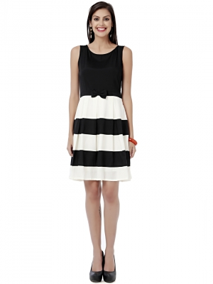 EAVAN Black-White Solid Fit And Flare Dress EA1221