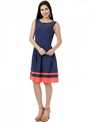 EAVAN Navy Blue Solid Fit And Flare Dress EA1223