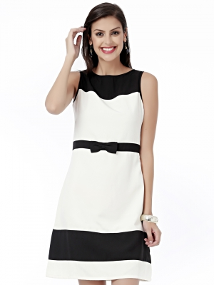 EAVAN Black-White Solid Fit And Flare Dress EA1226