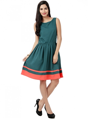 EAVAN Green Solid Fit And Flare Dress EA1228