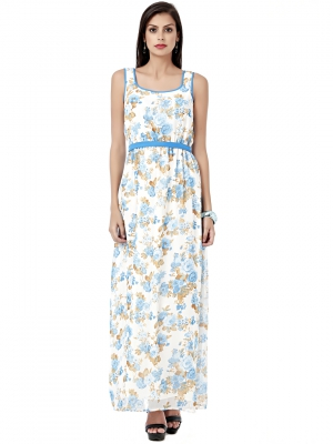 EAVAN White Printed Maxi  Dress EA1230