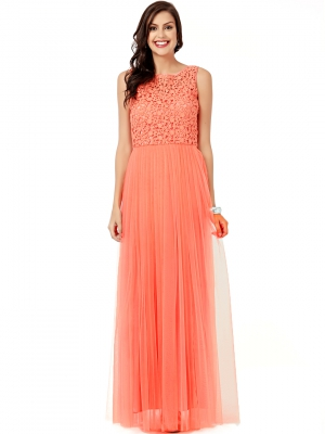EAVAN Coral Embelished Gown Dress EA1237