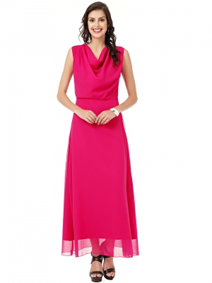 EAVAN Megenta Solid Maxi  Dress EA1244