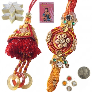 Send Online Trendy Indian Bhaiya Bhabhi Rakhi 105