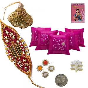 5Pc Cushion Cover Set and Bhaiya Bhabhi Rakhi Gift 169