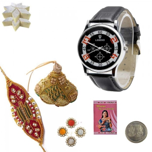 Men Leather Strap Watch and Bhai Bhabi Rakhi Gift 170