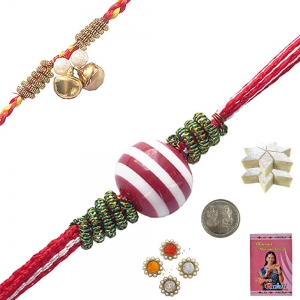 Beautiful Bead Rakhi Gift n 400Gm Kaju Katli Sweet 104