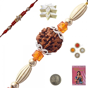 Send Online Charming Handcrafted Beads Rakhi 107