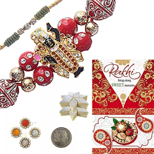 Send Beads Rakhiee n 200Gm Kaju Katli Mithai 113
