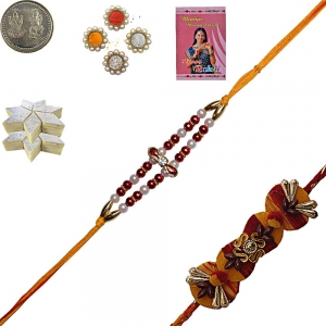 Cute Bead Rakhi 4 Brother n 400Gm Kaju Katli Sweet 134