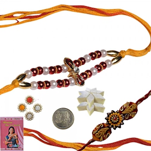 Beads Rakhi for Bhaiya n 400Gm Kaju Katli Sweet 135