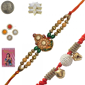 Colored Beads Rakhi Gift n 400Gm Kaju Katli Mithai 137