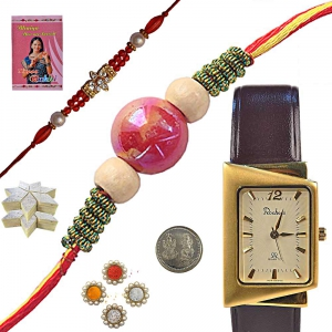Unique Gents Watch Rakhi Gift n 400Gm Kaju Katli 139