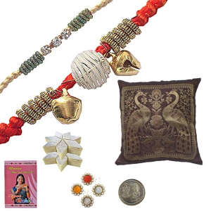 2 Pc Cushion Covers Set n Beads Rakhi for Brother 140