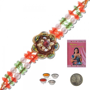 Traditional Handcrafted Colorful Design Beaded Rakhi Gift 302