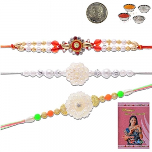 Traditional Handcrafted 3 Pc Colorful Beaded Rakhi Gift 501