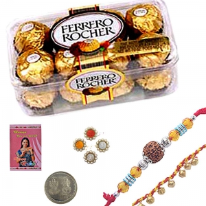 Send Mauli Rakhi n Ferrero Rocher Chocloate Gift 101