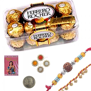 Send Rakhi n 3 Pc. Ferrero Rocher Chocolate Box 101
