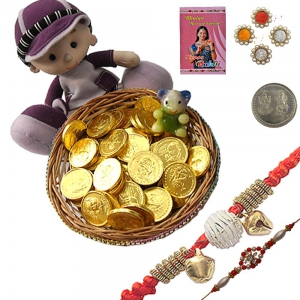 Traditional Mauli Rakhi n Gold Coin Choco Gift 103