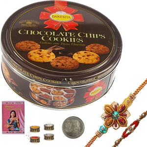 Designer Rakhi n 2 Chocolate Chips Cookie Box 108