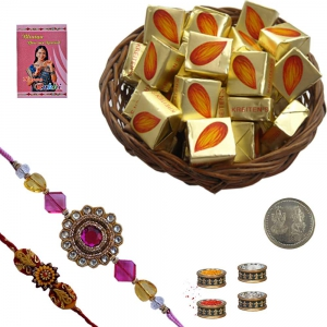 Jewel Rakhi n 100Gm Butter Chocolate Candy Box 117