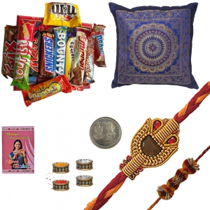 Rakhi 2 Pc Cushion Cover Set n 200Gm Chocolate Box 130