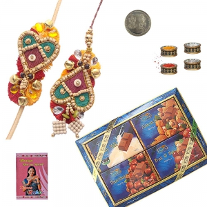 Bhaiya-Bhabhi Rakhi n 400Gm Assorted Chocolate Box 201