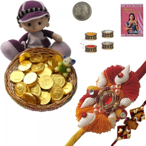 Buy Mauli Rakhi n Gold Coin Milk Chocolate Gift 211