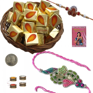 Beautiful Mauli Rakhi n 100Gm Butter Chocolate Box 218
