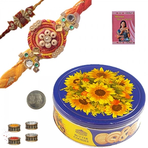 Mauli Rakhi n Imported Butter Cookie Box Pair 224