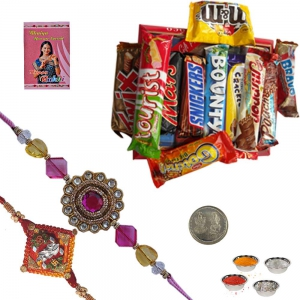 Cute Jewel Rakhi n Imported 400Gm Chocolate Box 226
