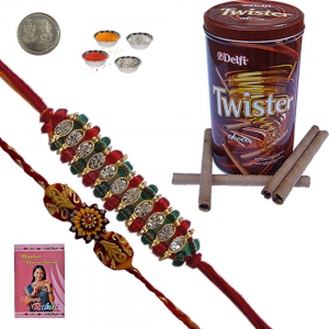 Send New Mauli Rakhi n Chocolate Wafer Box Pair 227