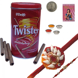 Buy Mauli Rakhi n Twister Strawberry Wafer Box 229