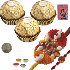 Send Cute Mauli Rakhi n Ferrero Rocher Gift Box 231