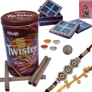Choco Wafers n Gemstone Tea Coaster with Rakhi 117