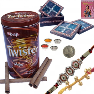Tea Coaster n Rakhi with Twister Wafer Gift Box 117