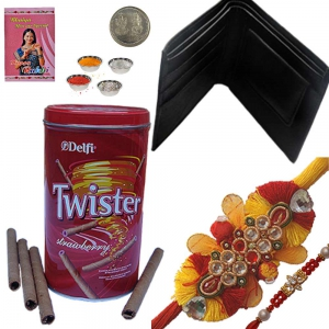 Leather Wallet n Rakhi with Strawberry Wafer Box 118