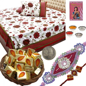 Bedsheet with Rakhi n 100Gm Butter Candy Gift Box 128