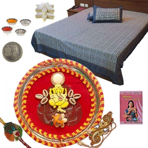 Double Bedsheet n Rakhi Thali and 400Gm Kaju Katli 102