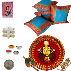 Pooja Thali n Cushion Cover with 200Gm Kaju Katli 108
