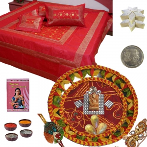 Pooja Thali n Silk Bedsheet with 200Gm Kaju Katli 112