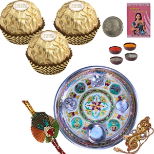 Rakhi Pooja Thali n 3 Pc. Ferrero Chocolate Box 201