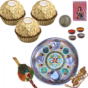 Rakhi Pooja Thali n 16 Pc. Rocher Chocolate Box 201
