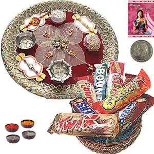 Beautiful Rakhi Pooja Thali n Imported Chocolate 204