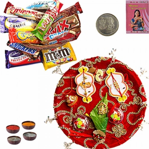 Assorted Chocolate Gift Box n Rakhi Pooja Thali 206